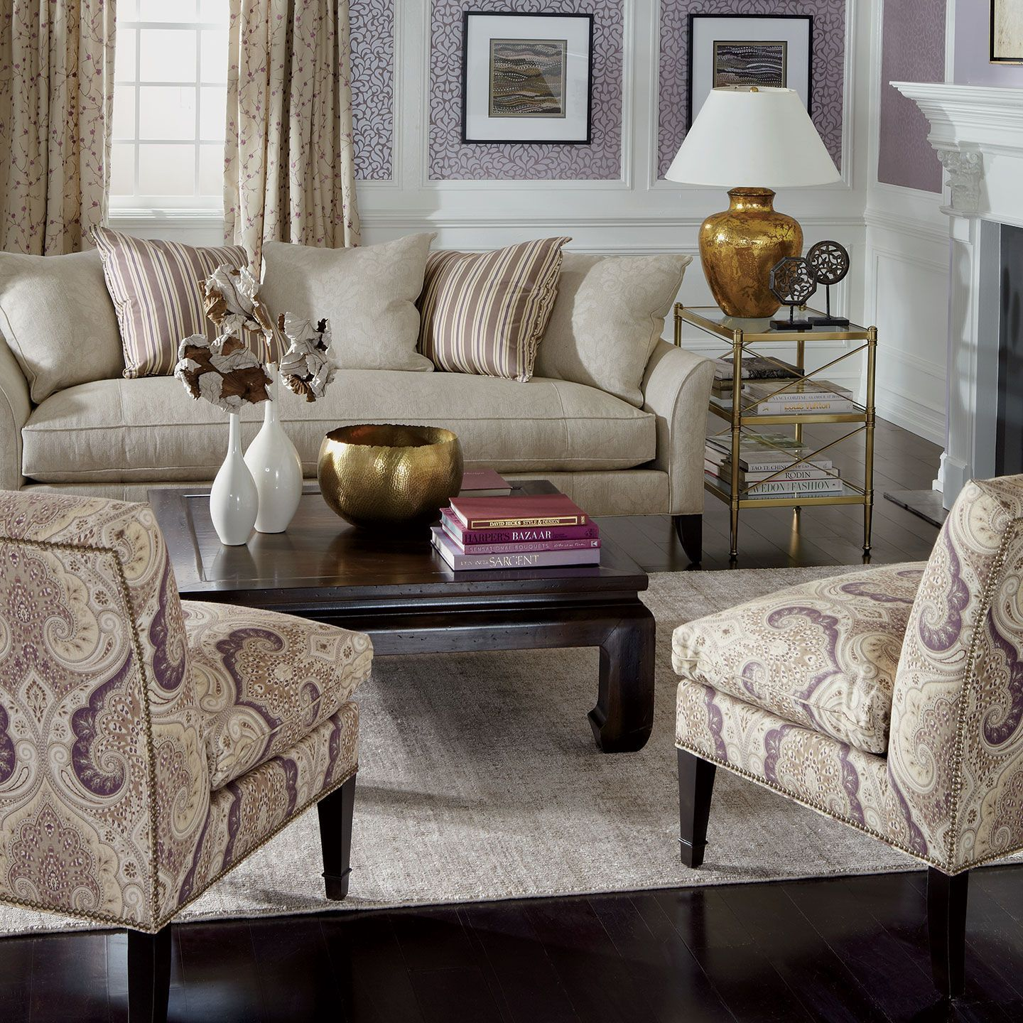 "Ethan Allen Love this living room Sofa is ""Chadwick"" and Chairs"