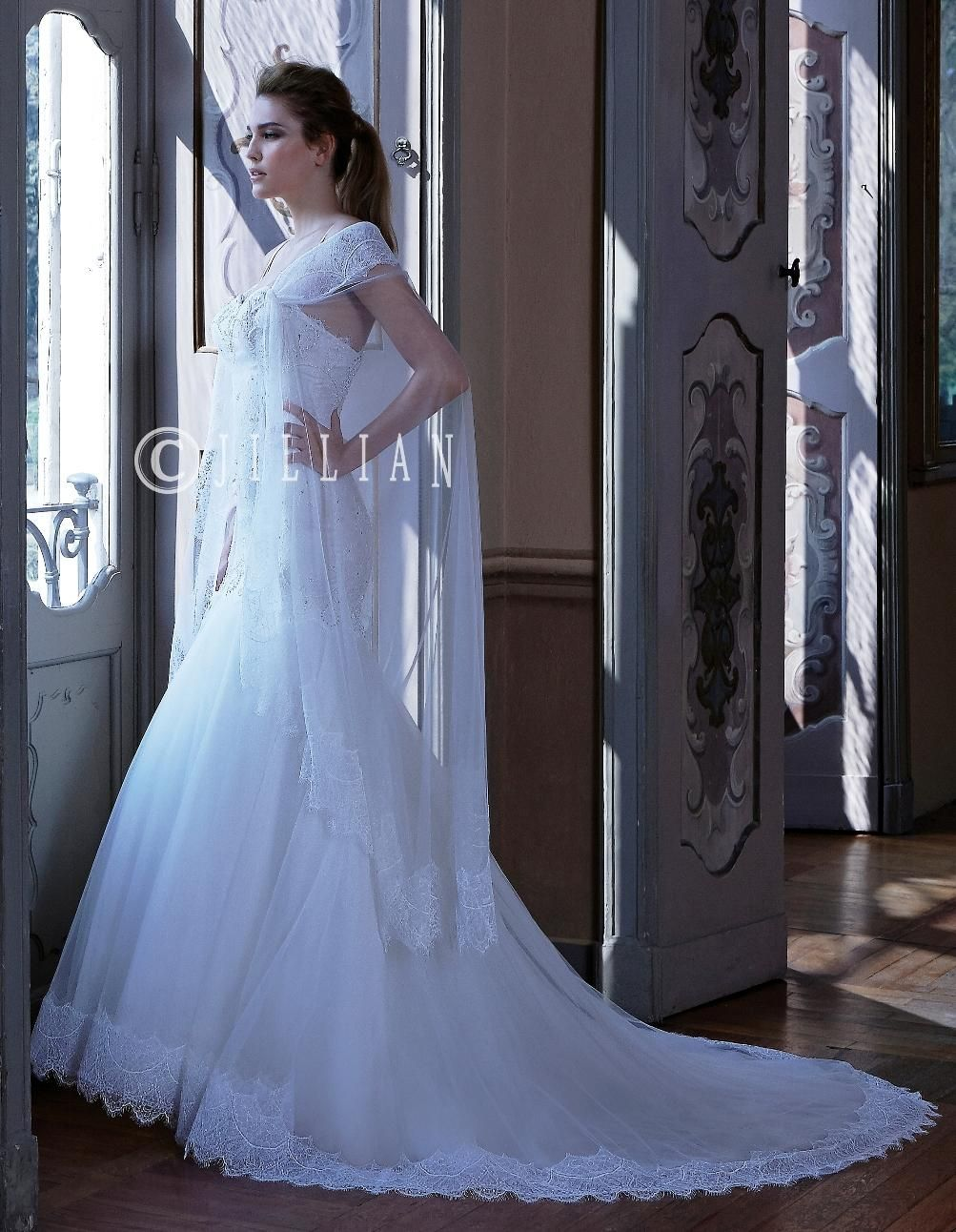 2016 jillian wedding dresses with shawl spaghetti neckline beading 2016 jillian wedding dresses with shawl spaghetti neckline beading lace tulle sheath bridal gowns with long train ombrellifo Image collections
