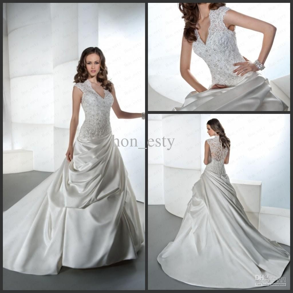 Wholesale A Line Wedding Gowns Satin Lace V Neck Sheer