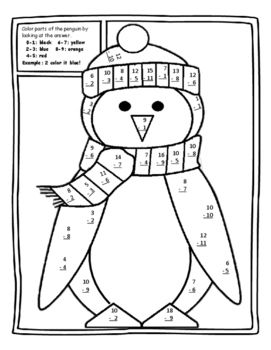 My Christmas Gift To You This Free Color By Number Subtraction Math Activity Is Both Fun And Educ Christmas Math Worksheets Christmas Subtraction Holiday Math