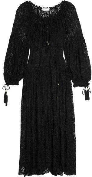 Zimmermann - Embroidered Silk-georgette Dress - Black