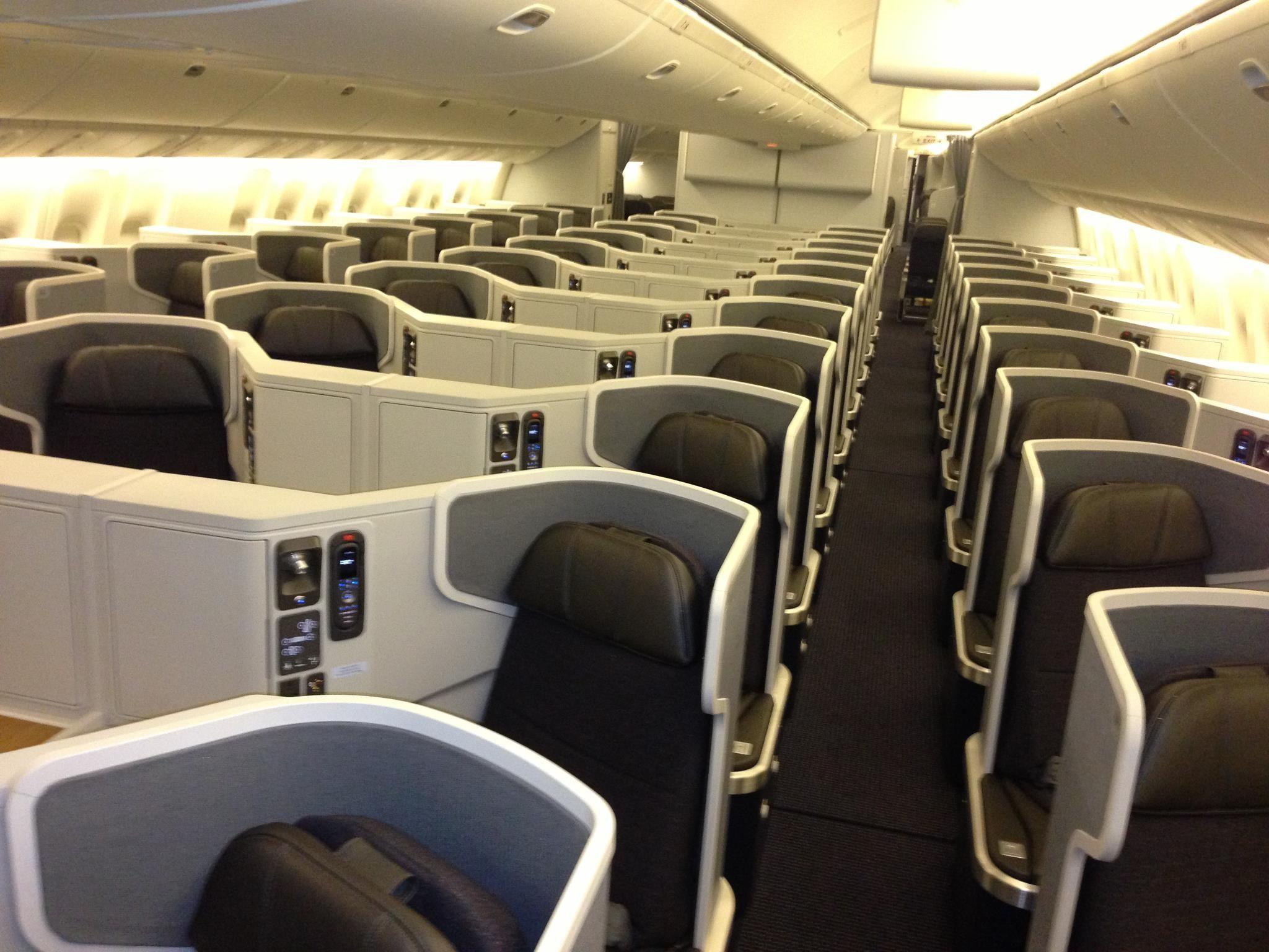 AA new 777 business class Flugreise, Reisen, Flug
