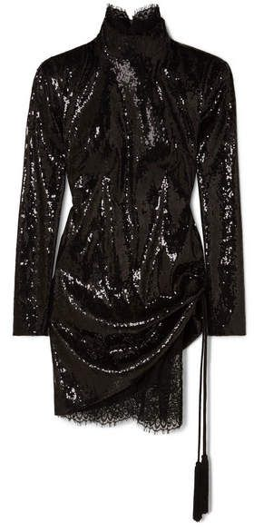096a157cbd18 Dundas - Sequined Tulle And Lace Mini Dress - Black