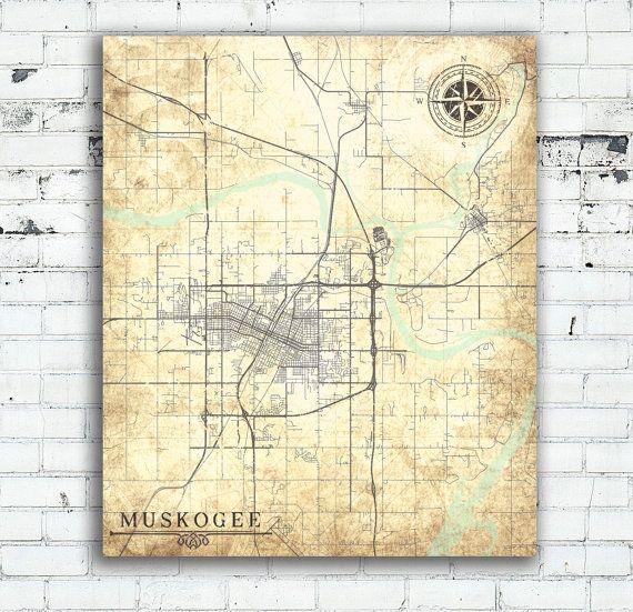 MUSKOGEE OK Canvas print Oklahoma Vintage map Muskogee City Vintage