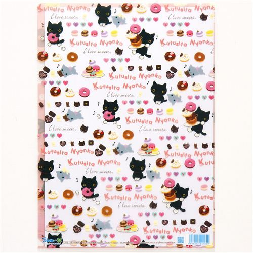 Kutusita Nyanko with macaroons A4 plastic file folder