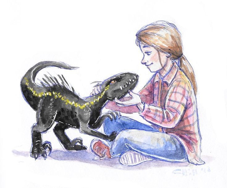 Beautiful artwork of Maisie and a baby Indoraptor - Mary's Secret World