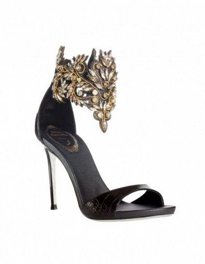 1fc7d3550308 Sandalo gioiello Renè Caovilla - Sandali gioiello di Capodanno 2016   modello nero con elementi preziosi