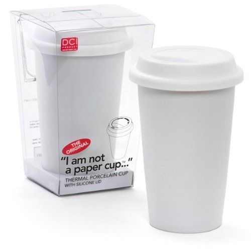 Dci I Am Not A Paper Cup 12 Ounce Porcelain Travel With Lid