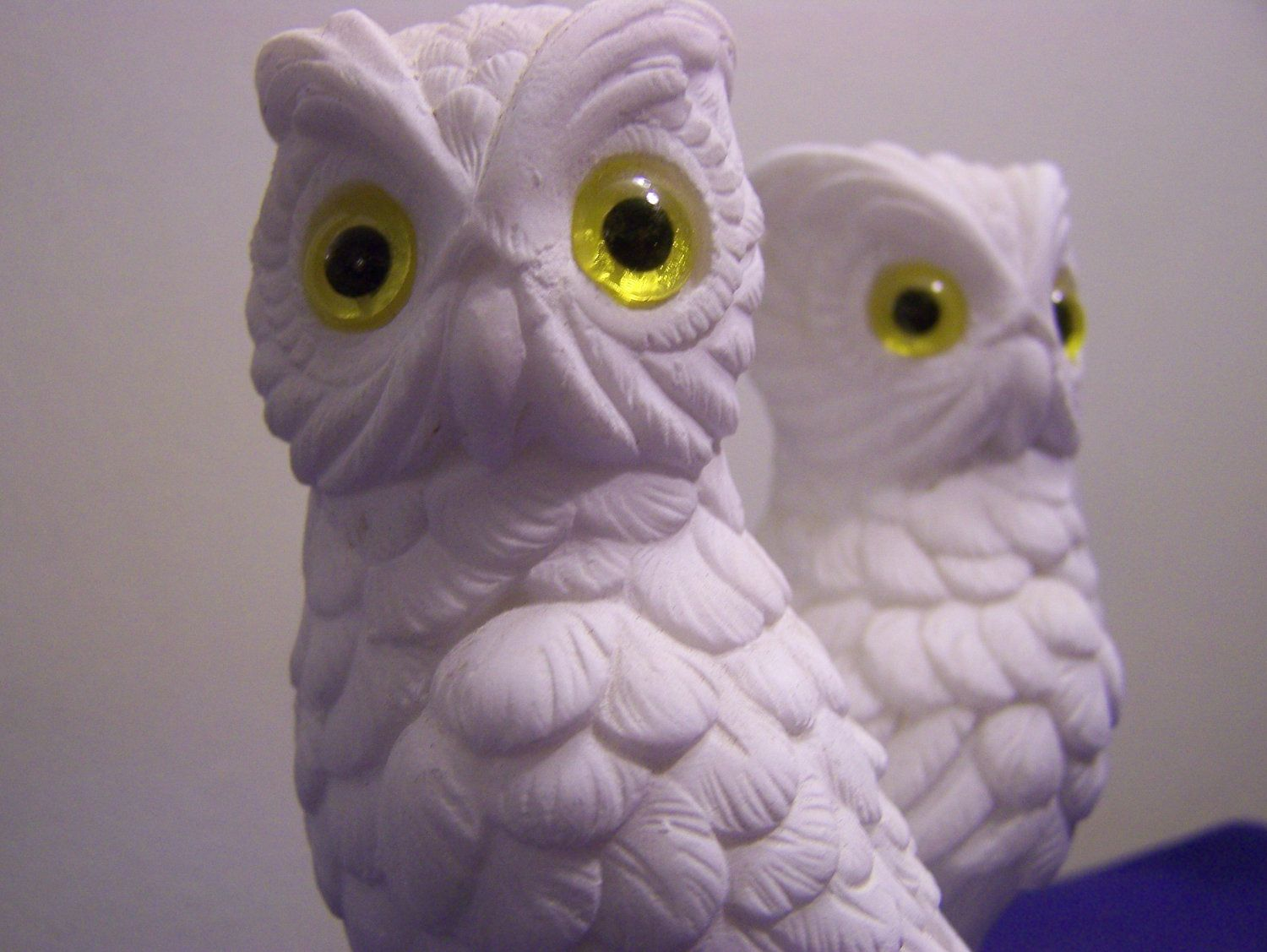 Antique Owl Figurines Vintage Set White Made In Italy By Treasures2share
