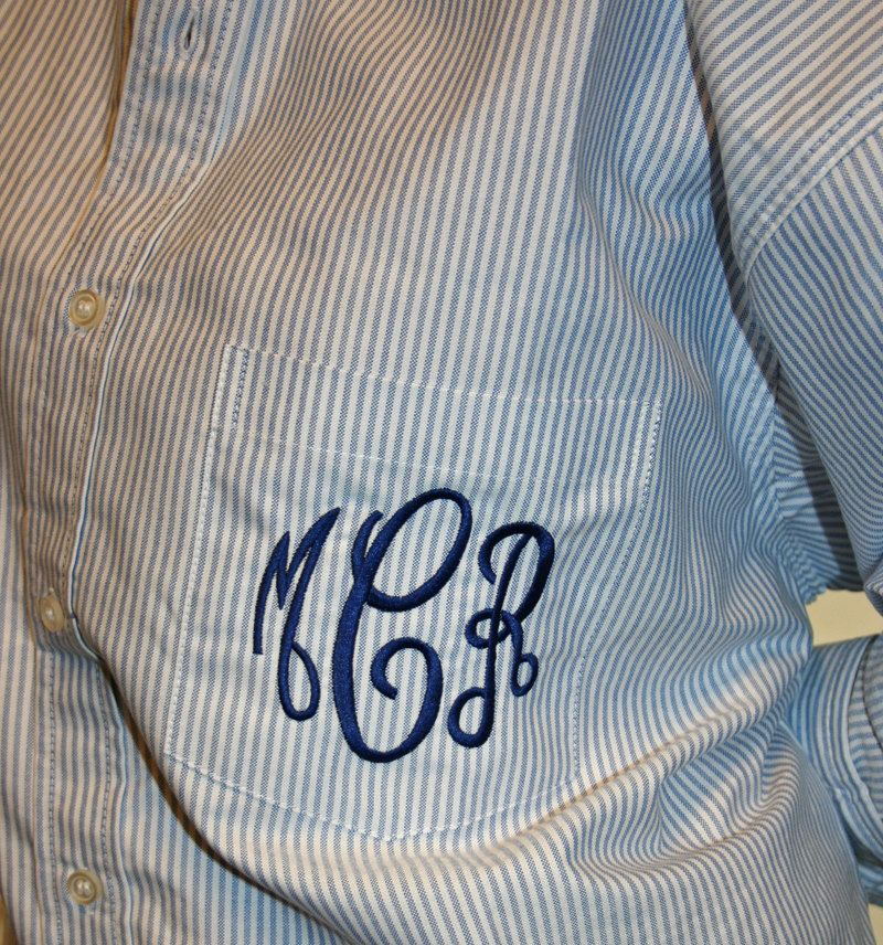 Monogrammed Blue Stripe Oversized Oxford Shirt Bridesmaids On Down Mens 50 00 Via