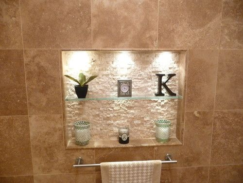 wall niche above tub?...very nice with the back light. | Organizing ...