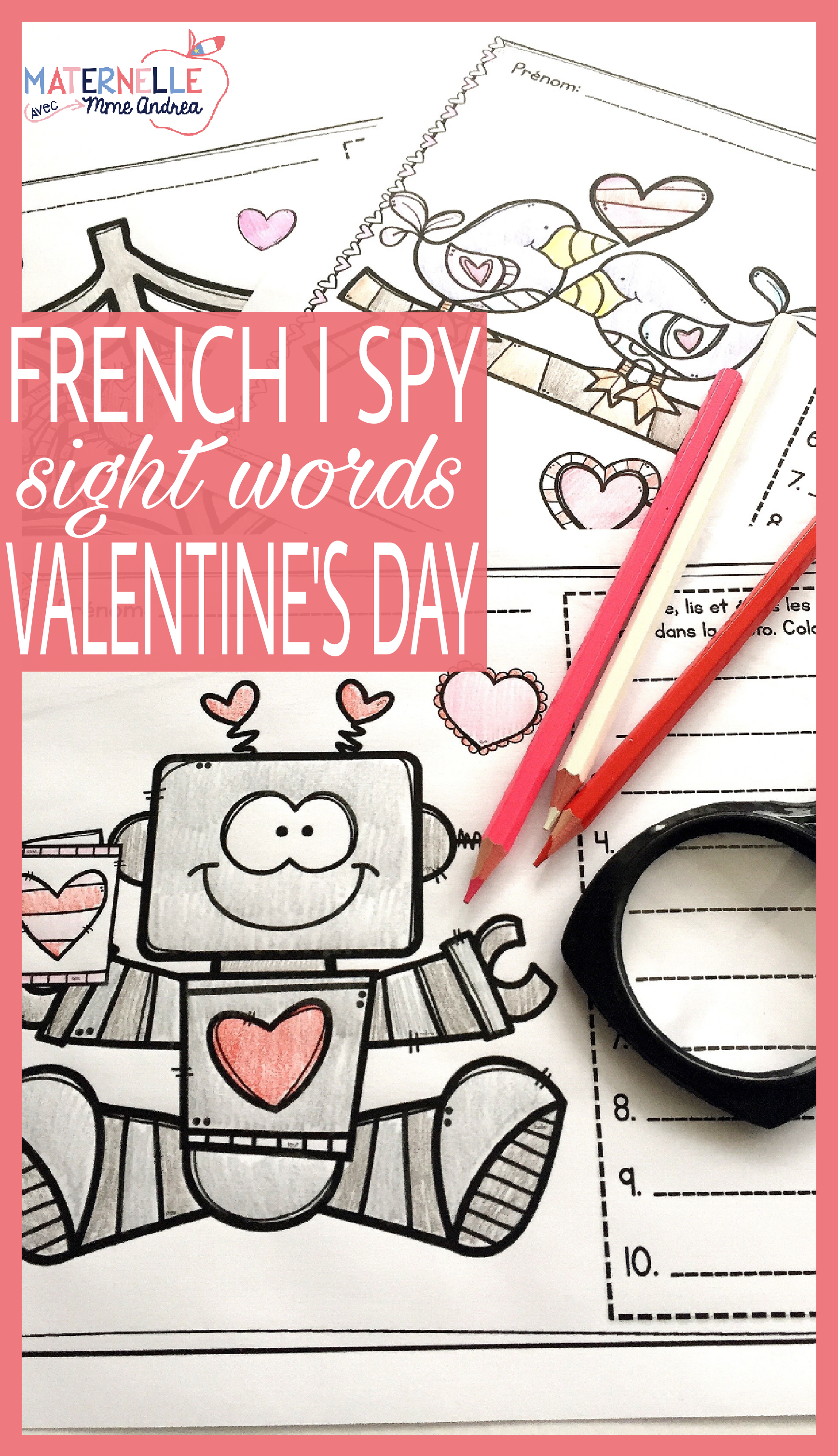French Valentine's Day Sight Word Reading & Writing