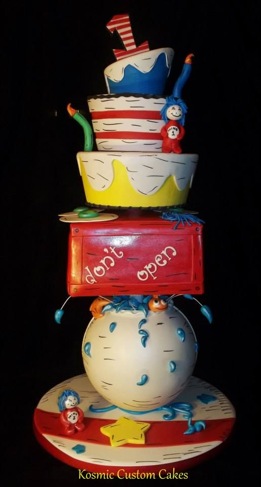 Dr Seuss Cake OVER 4 foot TALL For more pics - Find us on Facebook TODAY! Kosmic Custom Cakes