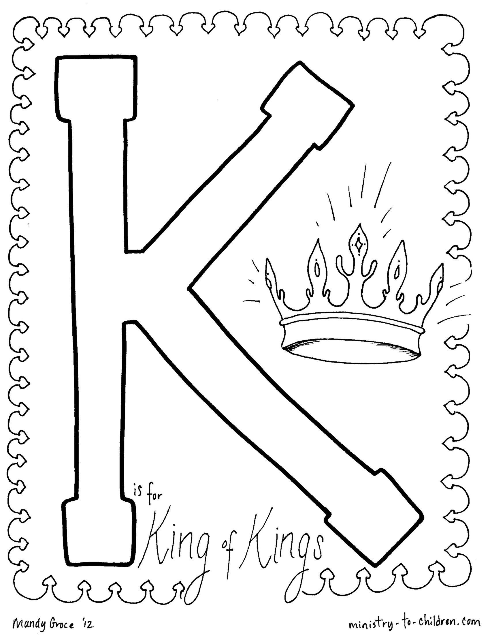 K Is For King Of Kings Coloring Page With Images Letter K Crafts