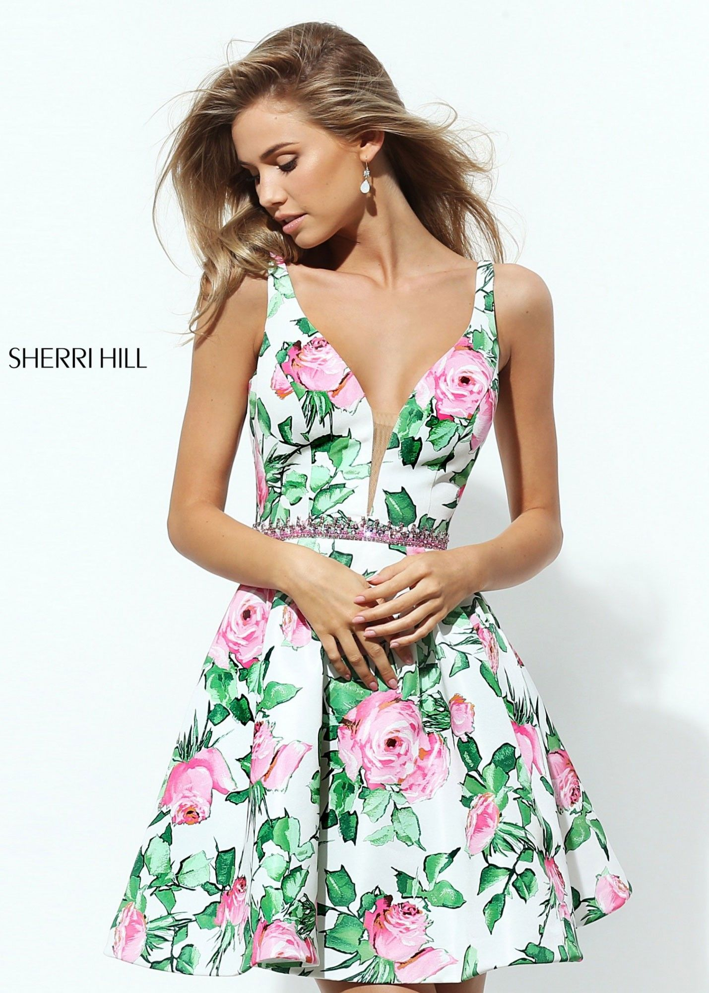 bb8b99fcaa8 Sherri Hill 50498 Plunge Neck Floral Dress in 2019