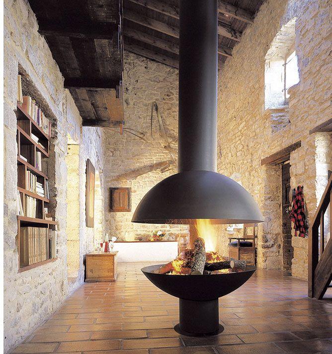 Mezzo claudia schlegel natursteinwand feuerstelle haus und kamin wohnzimmer - Offene feuerstelle wohnzimmer ...