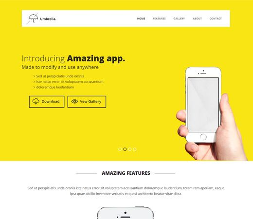 Umbrella A Mobile App Based Flat Bootstrap Responsive Web Template By W3layouts App Mobile App Bootstrap Template