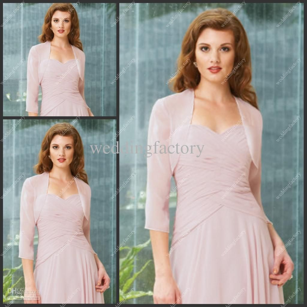 Wholesale Three Quarter Sleeve Jackets Chiffon Pink Simple Ladies ...