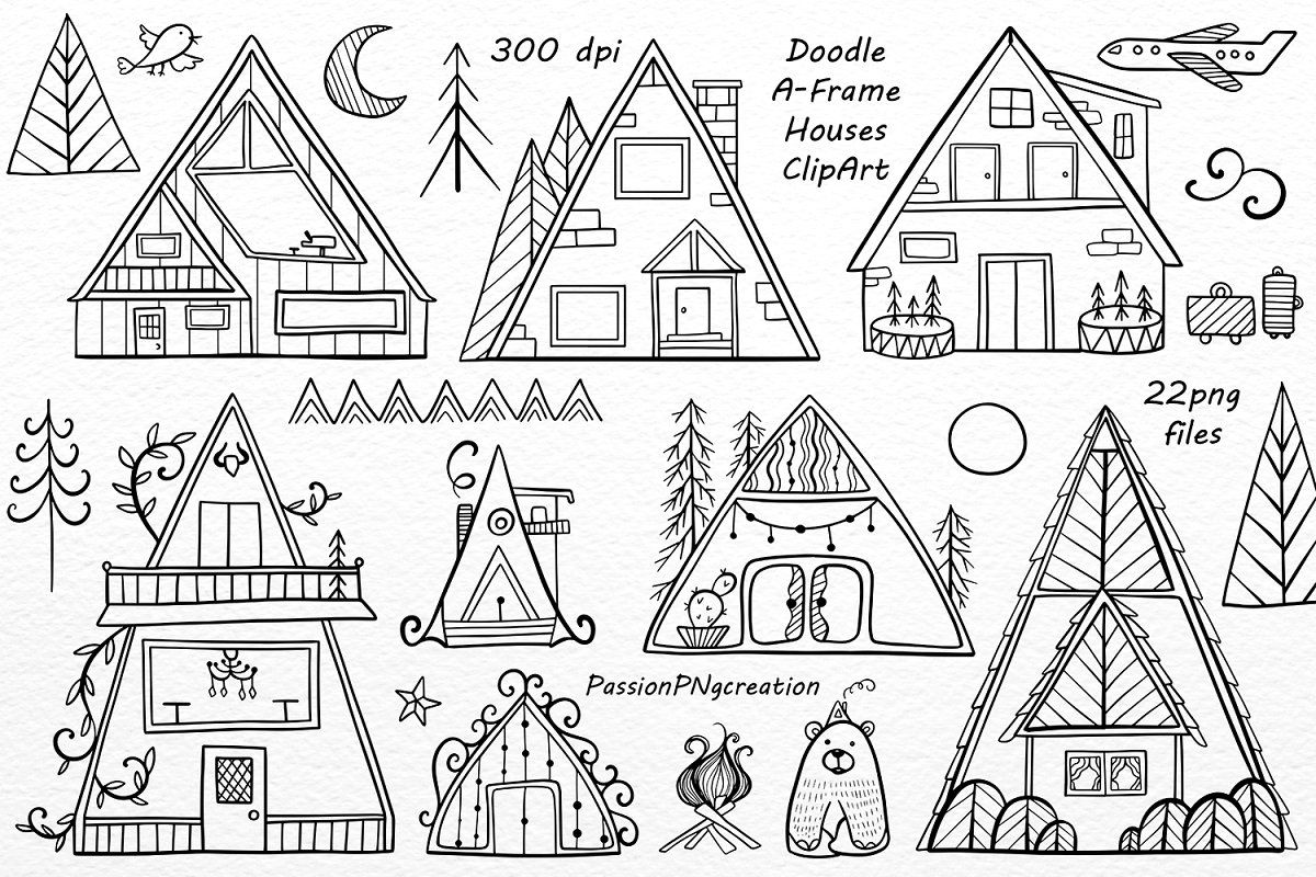 Doodle A-Frame Houses ClipArt ~ Illustrations ~ Creative