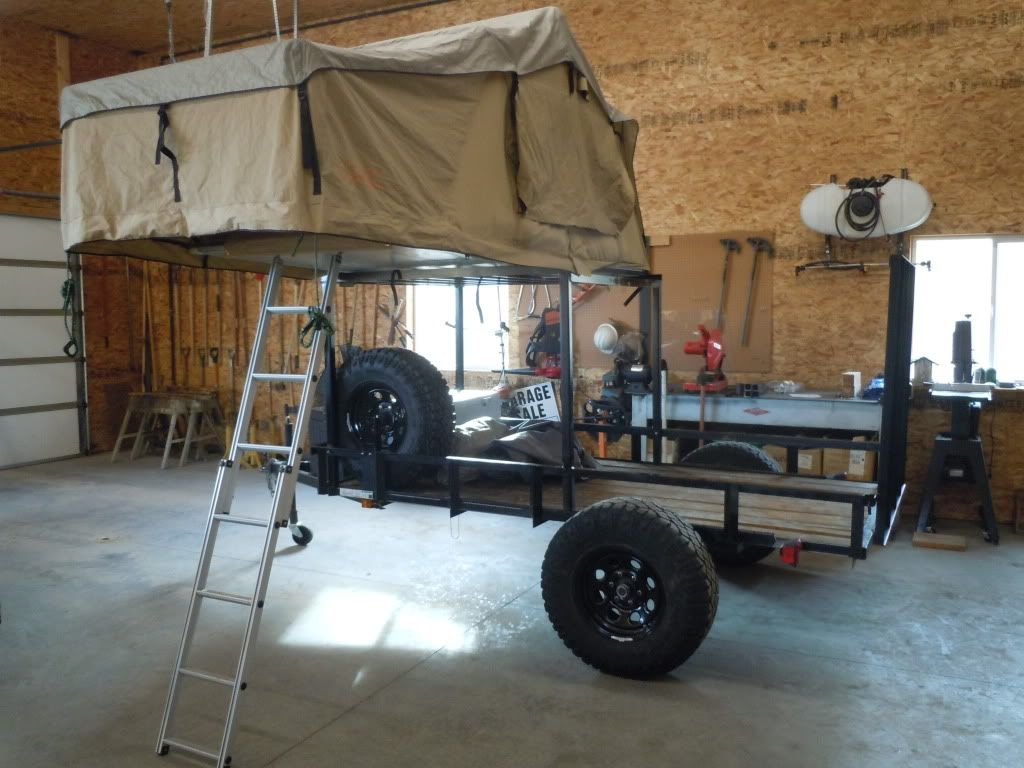 Ok so I have a utility trailer I bought from Lowes and will build a rack for my roof top tent and still have room to carry my ATV. & Click this image to show the full-size version. | Kayak trailer ...