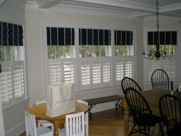 cafe shutters with roman shades new house ideas pinterest