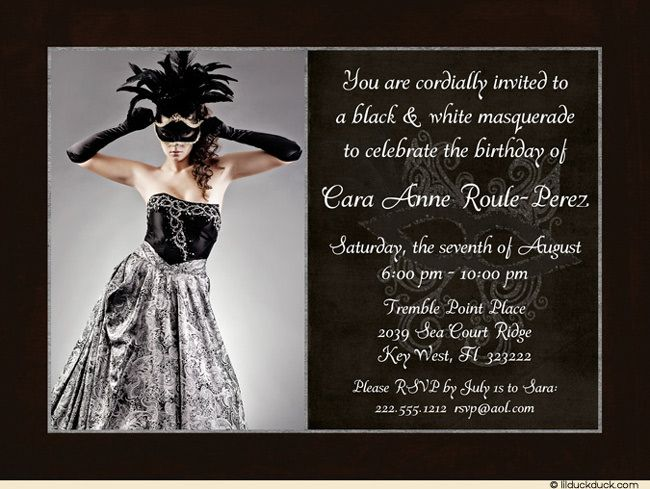 Photo Masquerade Birthday Invitation – Black and White Party Invitation Wording