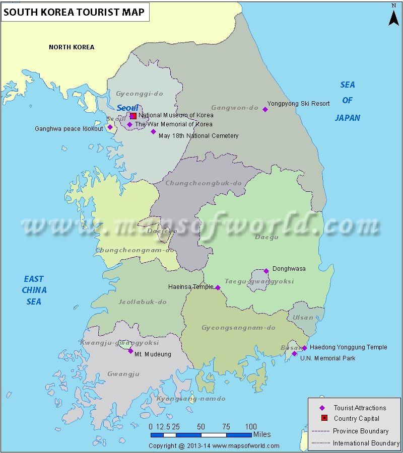 South Korea Tourist Attractions Map Maps Pinterest South korea