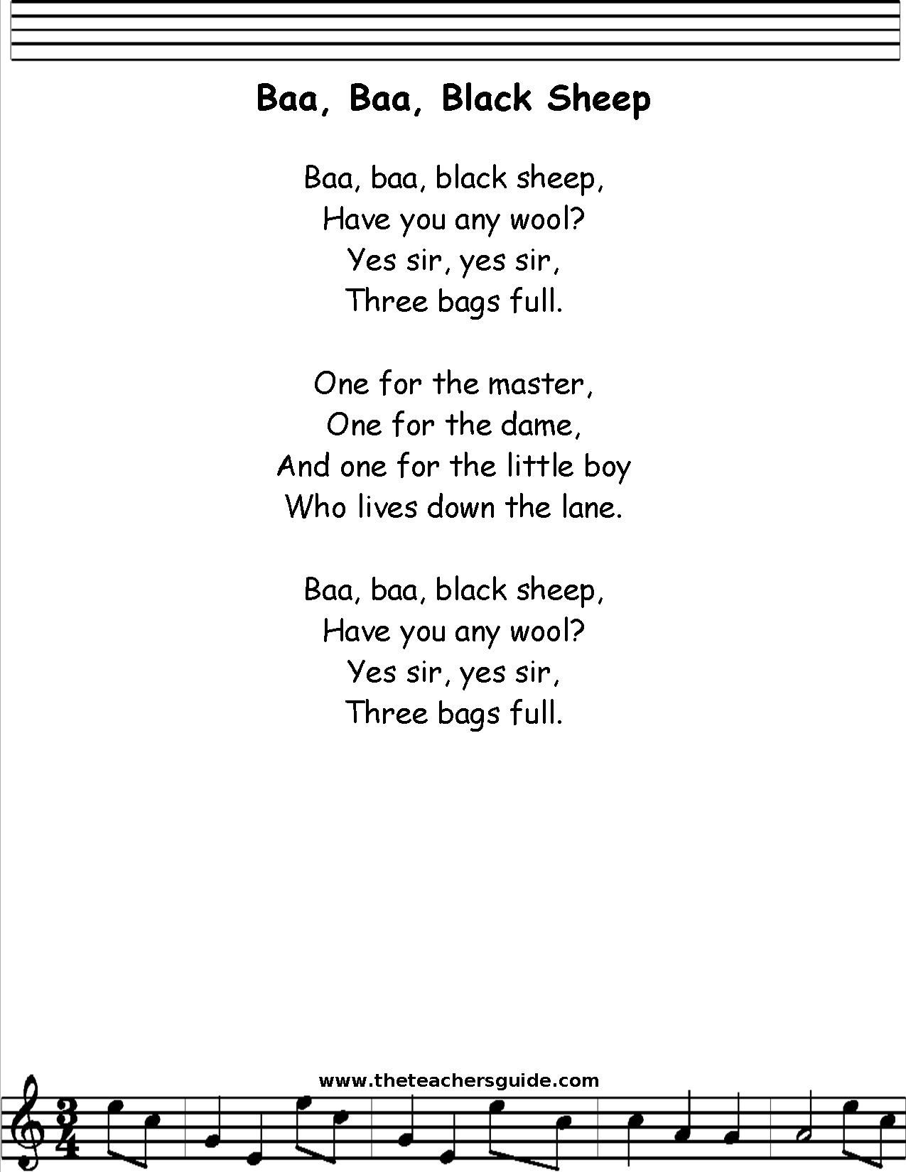 Baa Black Sheep Lyrics Printout