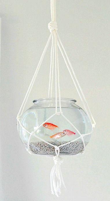 hanging macrame fish bowl if i was crafty pinterest aquarium deco et aquarium original. Black Bedroom Furniture Sets. Home Design Ideas