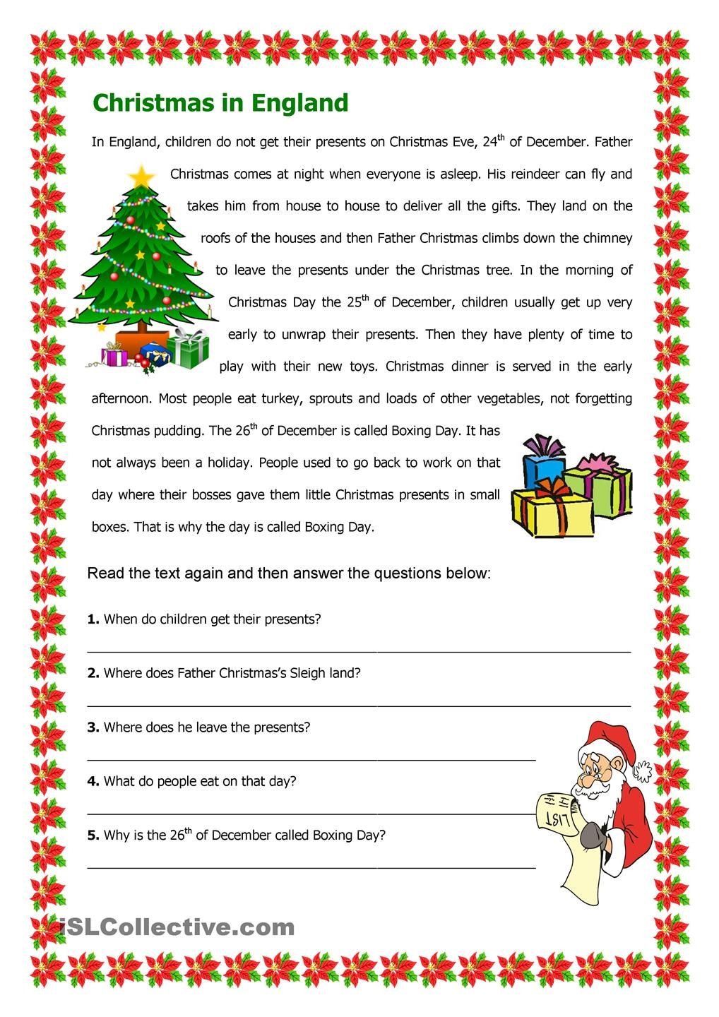 worksheet Christmas Reading Comprehension Worksheets christmas in england english activities pinterest reading worksheet free esl printable worksheets made by teachers