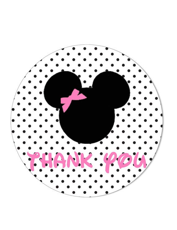 minnie mouse thank you tags stickers printable labels 12 tags on