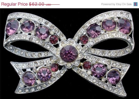 Storewide Sale Antique Purple Rhinestone by TheJewelryLadysStore, $49.60