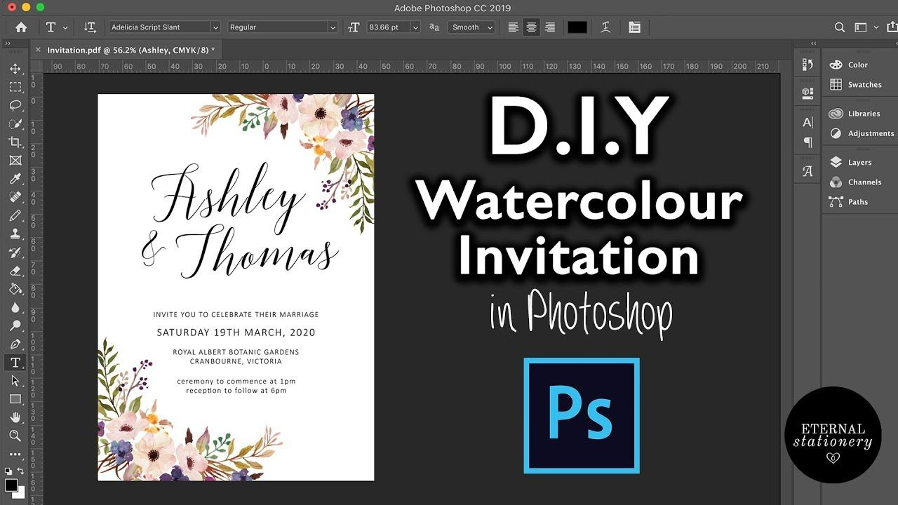 Diy Watercolour Wedding Invitation In Photoshop How To Create