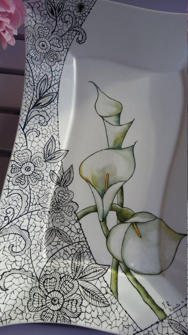 Comment Peindre De La Dentelle plateau de porcelaine peinte à la main en 2020 | porcelaine