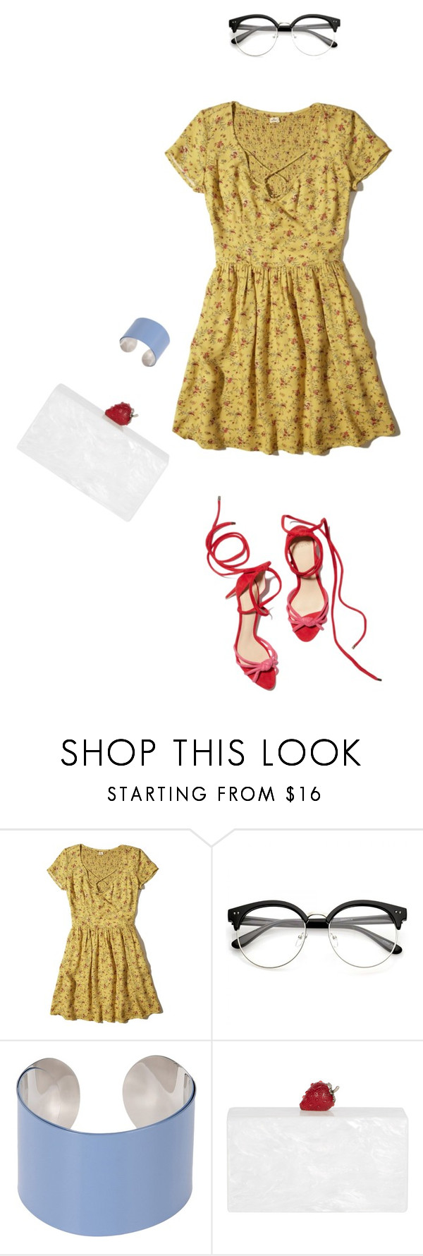 """Untitled #392"" by vividdusk ❤ liked on Polyvore featuring Hollister Co., Maison Margiela and Edie Parker"