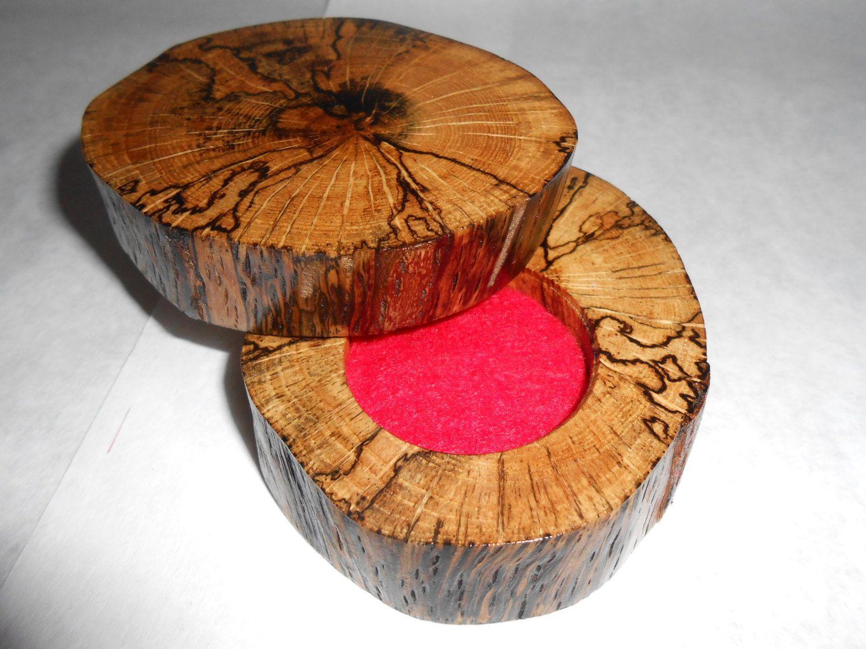 Challenge Coin Presentation Box - Rustic Spalted Oak Wood Tree Slab Live Edge - 1 5/8  Hole - Red Felt Insert & Challenge Coin Presentation Box - Rustic Spalted Oak Wood Tree ... Aboutintivar.Com