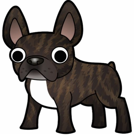 Cartoon French Bulldog Black Brindle Bicolor Cutout Puppy Love