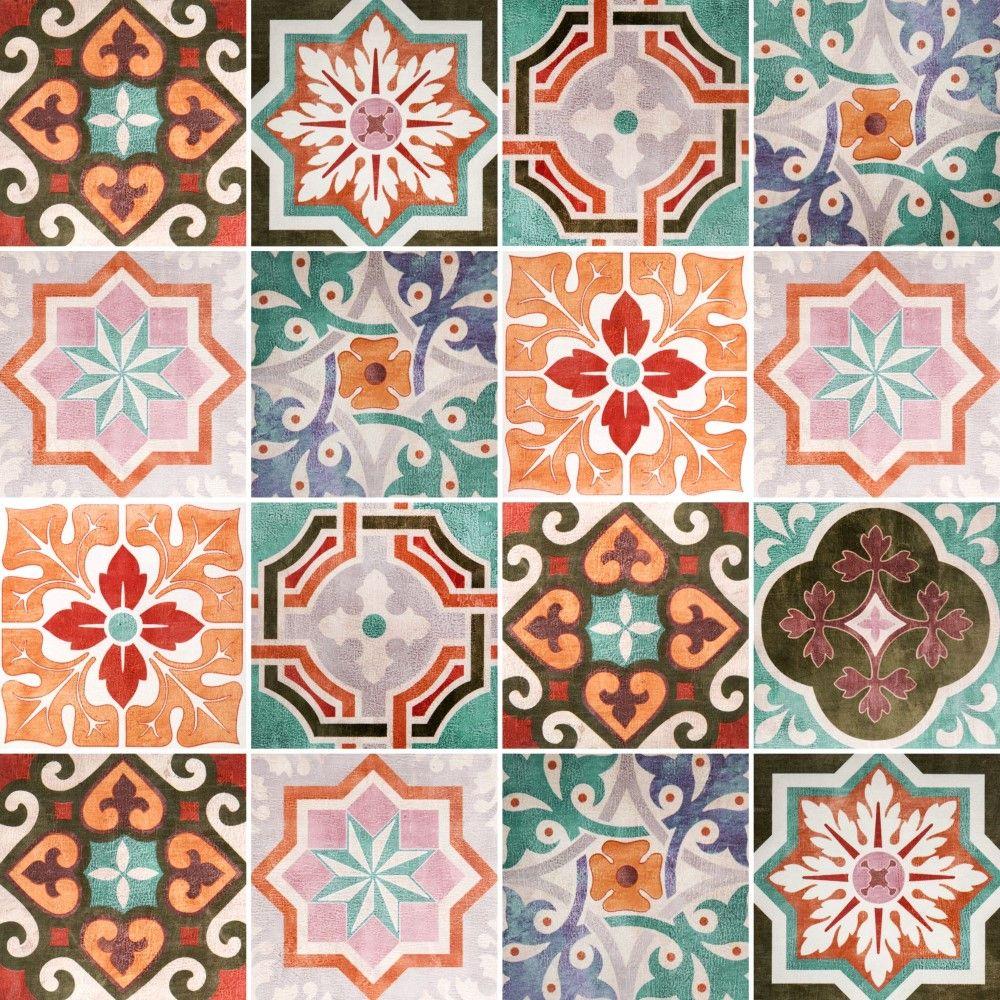 Papel de parede adesivo azulejo vintage azulejo for Azulejos estilo mexicano