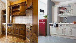 Peinture sur plan travail cuisine en carrelage photo avant for Peindre carrelage mural cuisine