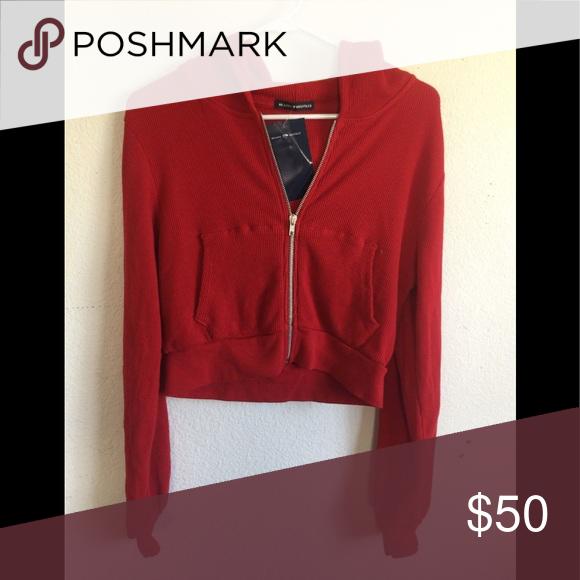 brandy melville black crop  Zip up crystal hoodie sweater Jacket NWT sz XS//S