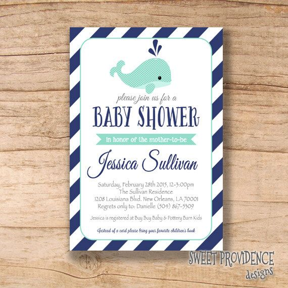 Nautical baby shower invitation Whale Invitation Navy Mint