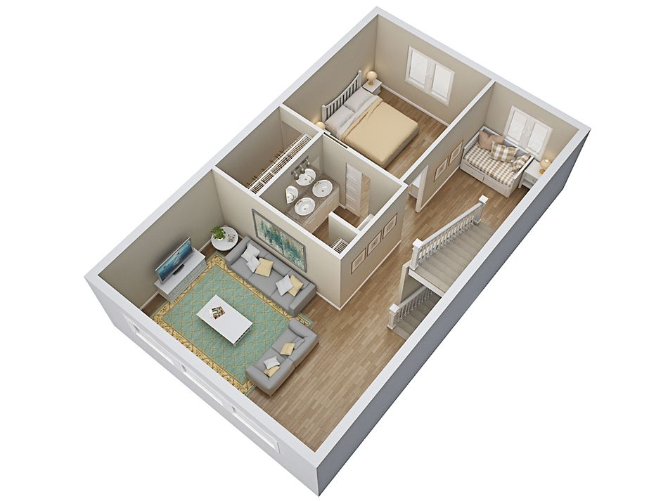 3d House Floorplan With Bedroom 2nd Floor Small Bathroom Renovations Closet Planning Diy Bathroom Makeover