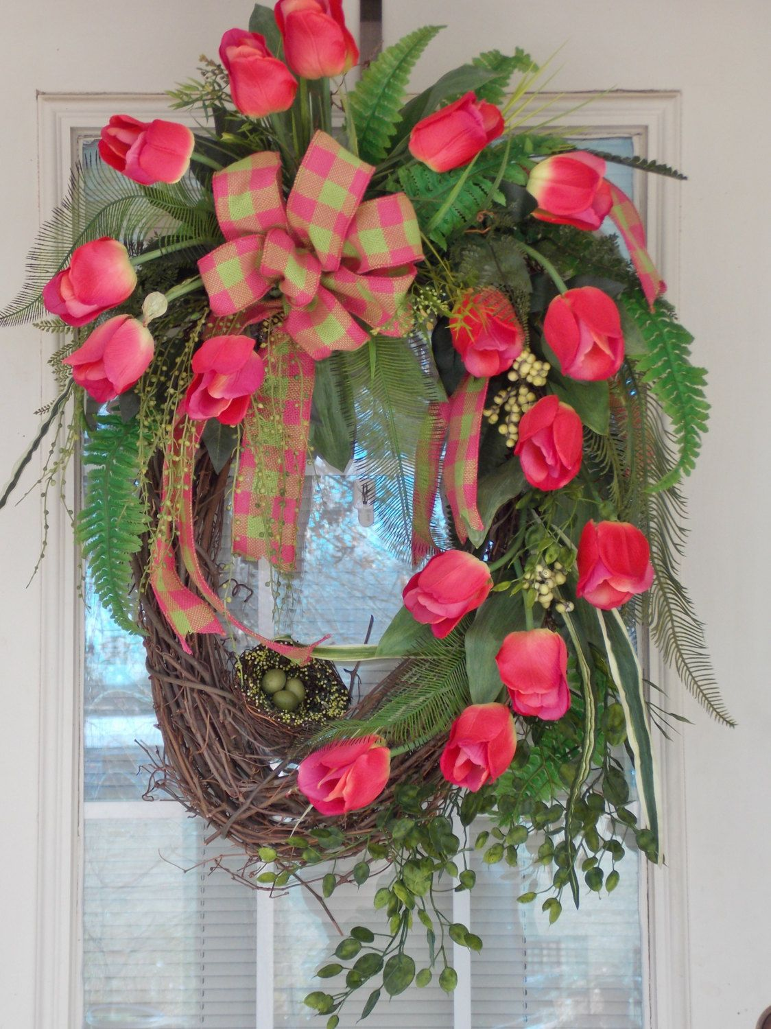 Valentines Gift, XL Pink Tulip Grapevine Wreath, Spring Wreath, Easter Wreath, Bird Nest, Greenery, and Bow, Holiday. $160.00, via Etsy.
