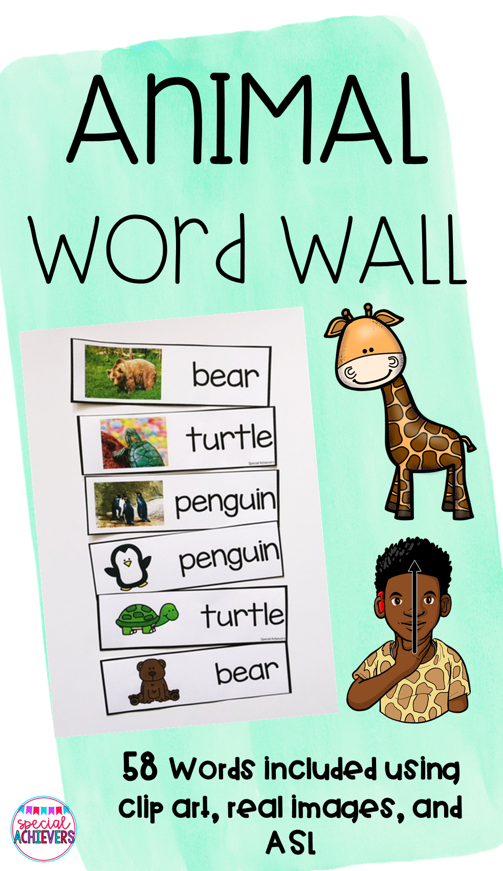 Animal Word Wall | Special Achiever's Teachers Pay Teachers Store