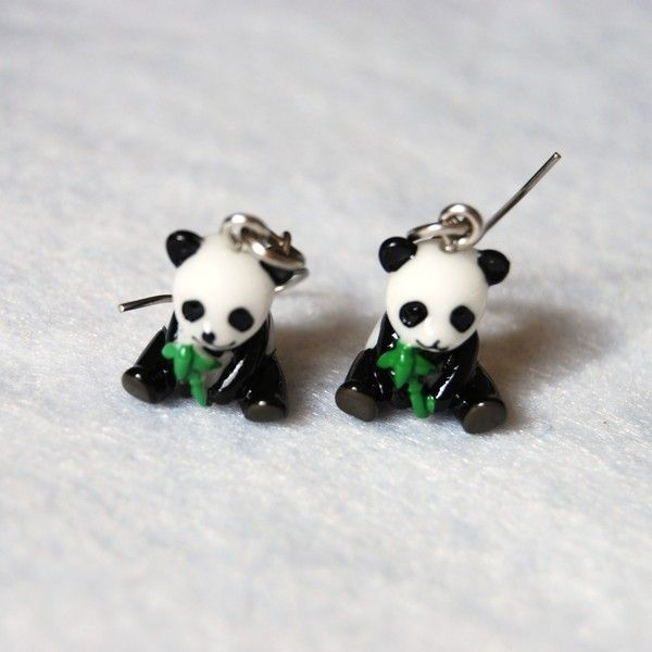 Panda Earrings Liked On Polyvore