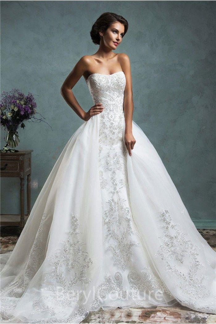 Long Sleeve Lace Wedding Dress Detachable Train