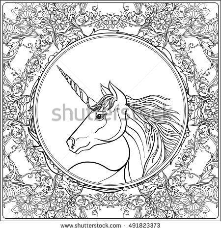 Unicorn in vintage decorative floral mandala frame Vector - fresh mandala coloring pages on pinterest