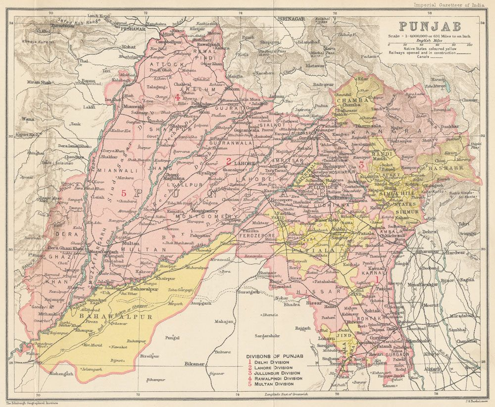 Punjab province 1909 including the major princely states of