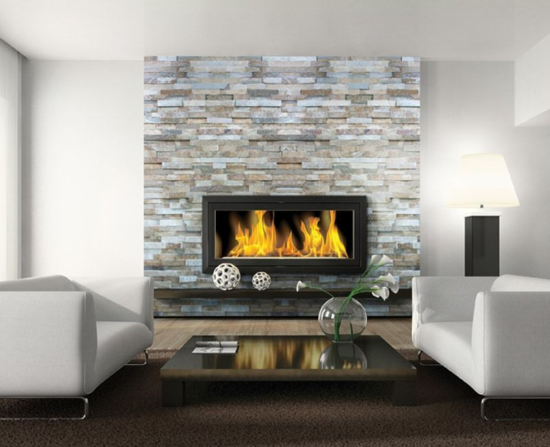 Ocean Wave Corner 6x24 Wall Mounted Fireplace Stacked Stone
