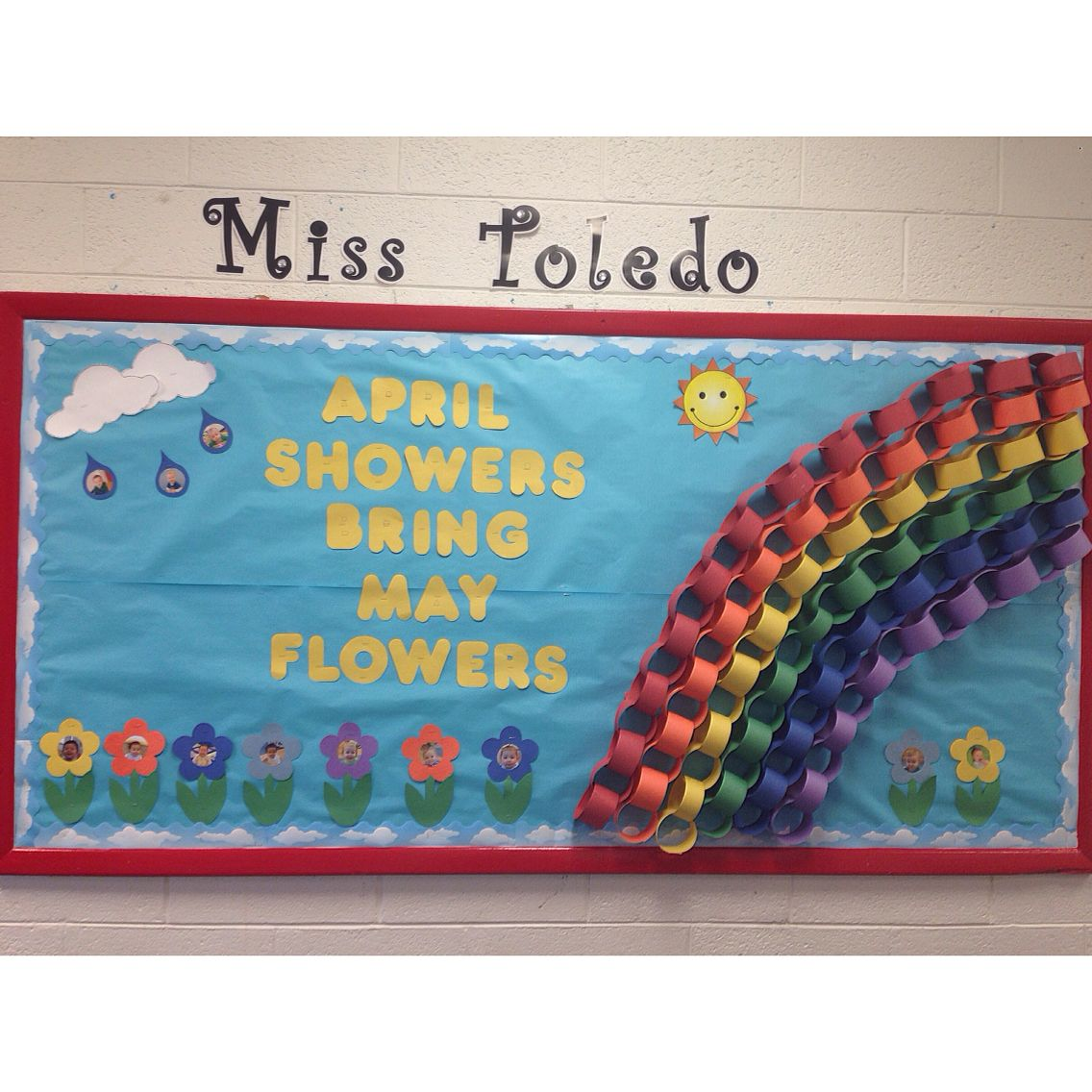 april showers bring may flowers bulletin board. april 2015.